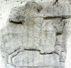 13th century knight wearing great helm, with shield, charging with couched lance. Image from a coffin slab fragment in Hampstead Norrey's church, Berkshire.