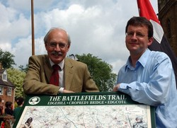 Unveiling of the interpretation panel at Kineton by Professor Richard Holmes, as the official launch of the Battlefield Trail.