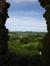 The commanding view from Wigmore Castle of the valley through which the Roman road runs south from Shrewsbury towards Hereford. This is the route along which the Yorkist army is said by some to have marched to the battle of Mortimer's Cross.